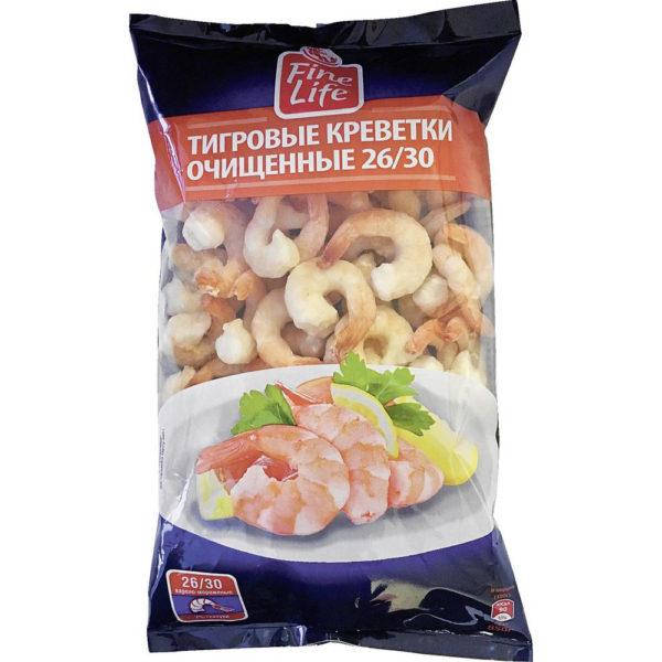 Креветки FINE LIFE Тигровые 26/30 очищенные варено-мороженые, 850 г