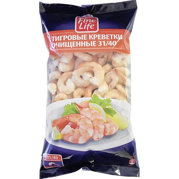 Креветки FINE LIFE Тигровые очищенные 31/40 варено-мороженые, 850г
